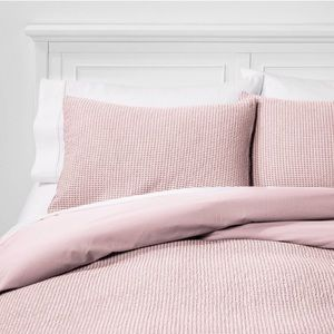 Threshold Blush Waffle Knit Standard Pillow Case